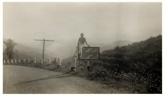photo of harriet duncan on road sign 1934