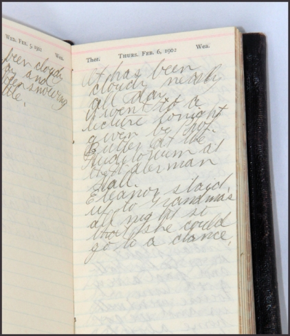 photo of diary page for February 6 1902