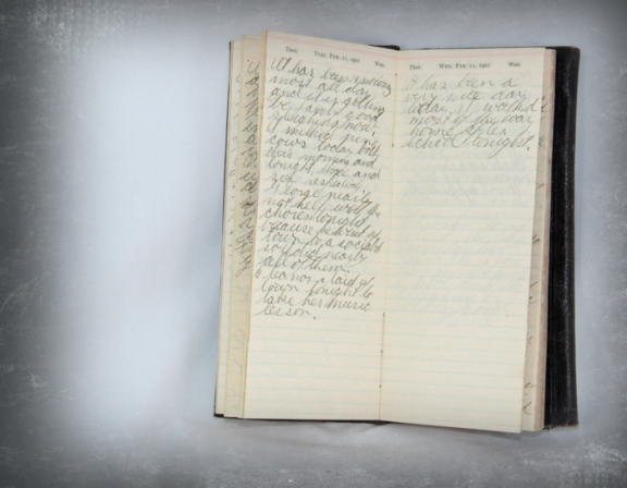 photo of diary page for February 11 and 12 1902