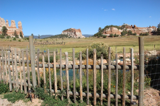 Fenced yard with view to mesas and rock formations