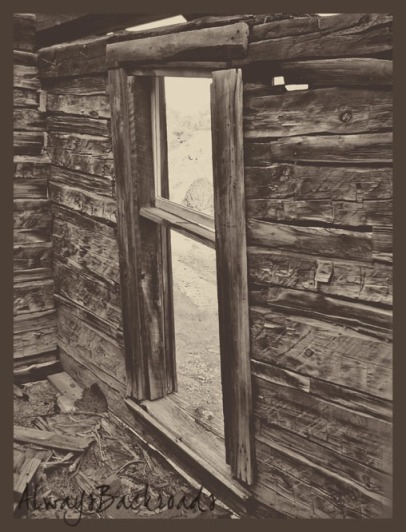 cabin window sepia