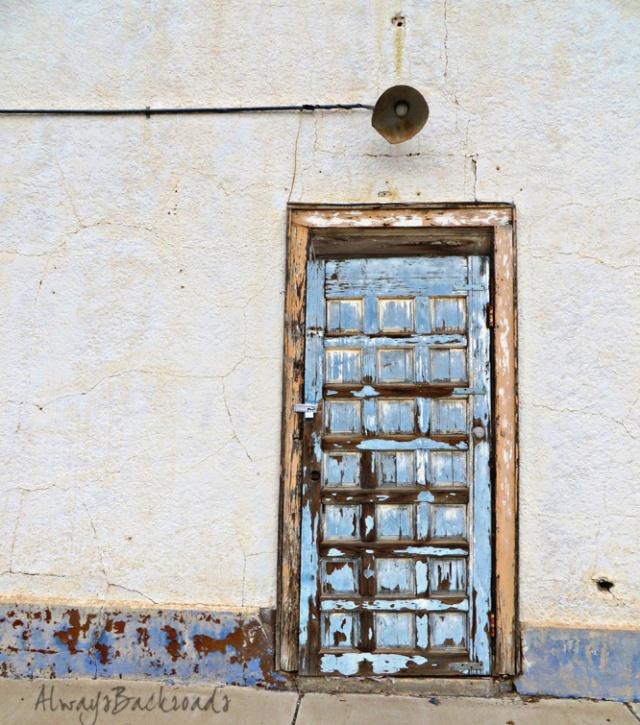 blue panel door