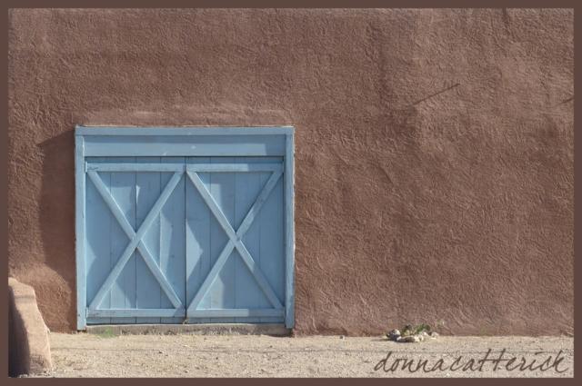 blue x door