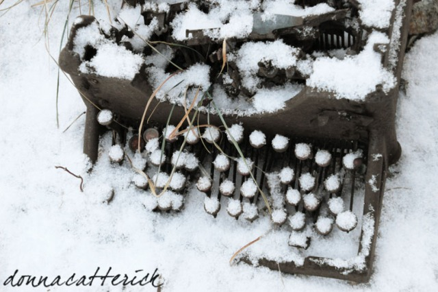 typewriter in snow