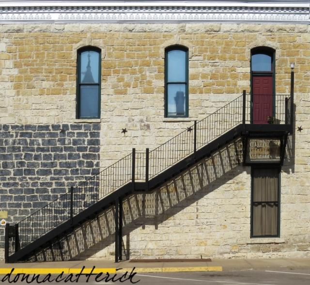block bldg stairway shadow