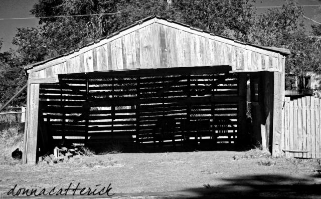 wood slat barn bw